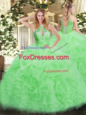 Fantastic Organza Lace Up Halter Top Sleeveless Floor Length Sweet 16 Quinceanera Dress Beading