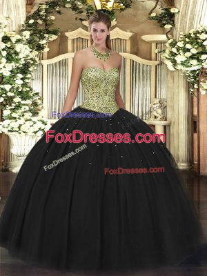 Captivating Sleeveless Floor Length Beading Lace Up Vestidos de Quinceanera with Black