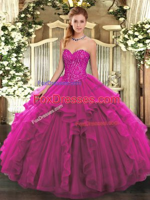 Beauteous Sweetheart Sleeveless Sweet 16 Quinceanera Dress Floor Length Beading and Ruffles Fuchsia Tulle