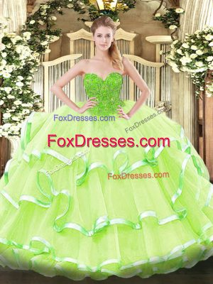 High Class Floor Length Ball Gowns Sleeveless Yellow Green Quinceanera Dresses Lace Up