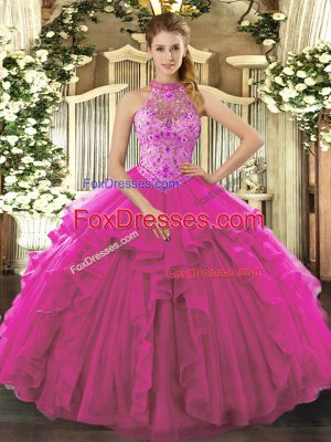 Sweet Fuchsia Halter Top Lace Up Beading and Ruffles Quince Ball Gowns Sleeveless