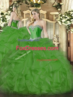 Sleeveless Organza Floor Length Lace Up Ball Gown Prom Dress in Green with Beading and Ruffles