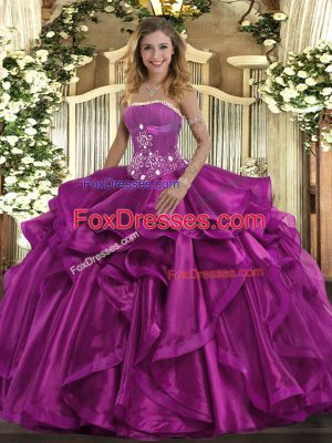 Pretty Organza Strapless Sleeveless Lace Up Beading and Ruffles Vestidos de Quinceanera in Fuchsia