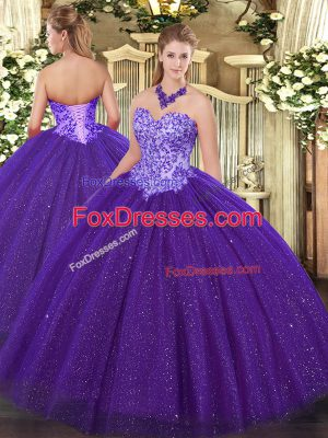 Romantic Sweetheart Sleeveless Tulle Quinceanera Gown Beading Lace Up