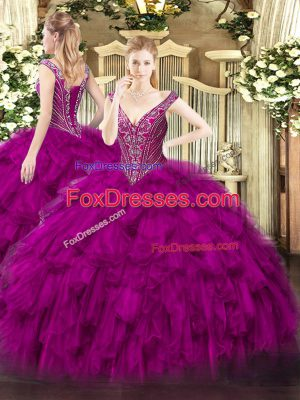 Sleeveless Floor Length Beading and Ruffles Lace Up Quinceanera Gown with Fuchsia