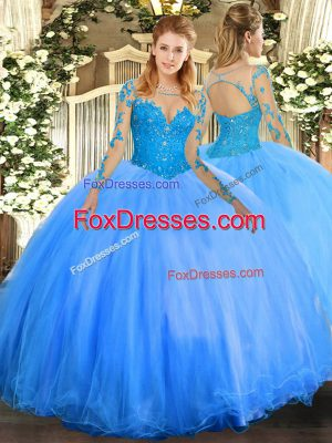 Smart Floor Length Ball Gowns Long Sleeves Baby Blue Quinceanera Dresses Lace Up