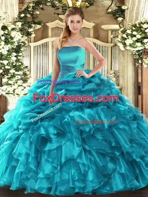 Charming Strapless Sleeveless Organza Sweet 16 Quinceanera Dress Ruffles and Pick Ups Lace Up