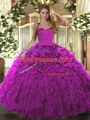 Organza Halter Top Sleeveless Lace Up Ruffles Quince Ball Gowns in Fuchsia