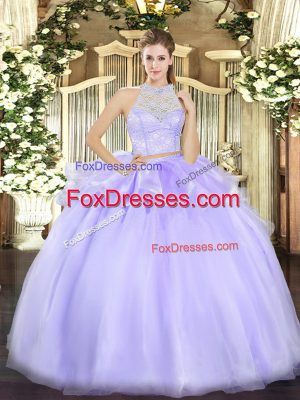 Top Selling Lavender Sleeveless Lace Floor Length Quinceanera Gown