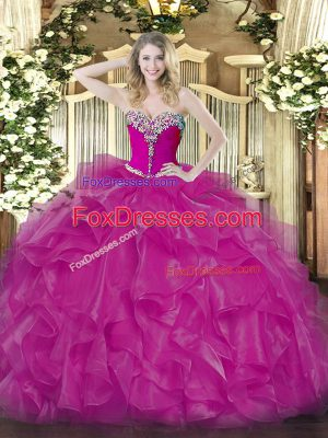 Stylish Fuchsia Sweetheart Lace Up Beading and Ruffles Vestidos de Quinceanera Sleeveless