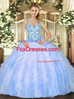 Floor Length Baby Blue Vestidos de Quinceanera Organza Sleeveless Beading and Ruffles