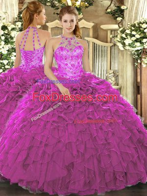Fuchsia Sleeveless Floor Length Beading and Embroidery and Ruffles Lace Up Sweet 16 Dress