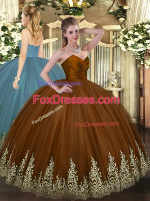 New Arrival Brown Sleeveless Appliques Floor Length Quinceanera Gowns