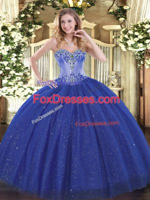 Beading Sweet 16 Quinceanera Dress Royal Blue Lace Up Sleeveless