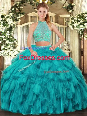 Sleeveless Floor Length Beading and Ruffles Criss Cross Quince Ball Gowns with Turquoise