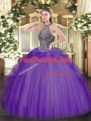 Lavender 15 Quinceanera Dress Sweet 16 and Quinceanera with Beading Halter Top Sleeveless Lace Up