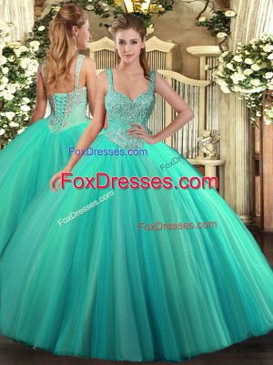 Trendy Turquoise Tulle Lace Up Quinceanera Dresses Sleeveless Floor Length Beading