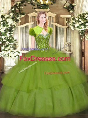 Sweetheart Sleeveless Ball Gown Prom Dress Floor Length Beading and Ruffled Layers Olive Green Tulle