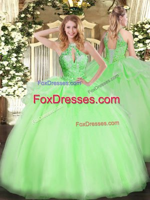 Sleeveless Floor Length Beading Lace Up Ball Gown Prom Dress with