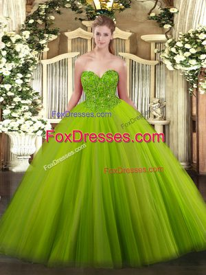 Beauteous Sweetheart Sleeveless Tulle 15 Quinceanera Dress Beading Lace Up