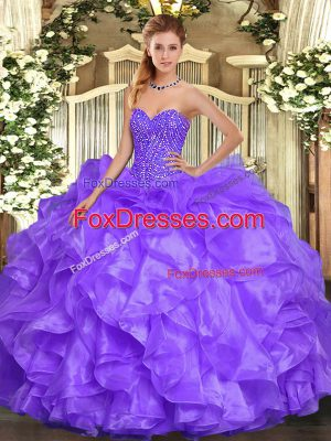 Sleeveless Organza Floor Length Lace Up Quinceanera Gowns in Lavender with Beading and Ruffles