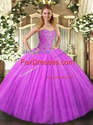Best Lilac Sweetheart Lace Up Beading Quince Ball Gowns Sleeveless