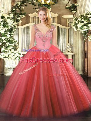 V-neck Sleeveless Lace Up Sweet 16 Dress Coral Red Tulle