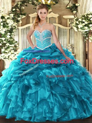 Beading and Ruffles and Pick Ups Quince Ball Gowns Teal Lace Up Sleeveless Floor Length