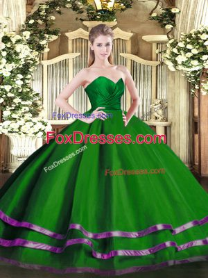Green Sweetheart Neckline Ruffled Layers Quinceanera Dress Sleeveless Zipper
