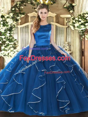 High Class Scoop Sleeveless Tulle Quinceanera Gowns Ruffles Lace Up