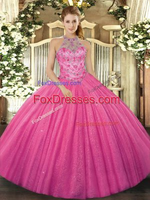 Ball Gowns Quinceanera Gown Hot Pink Halter Top Tulle Sleeveless Floor Length Lace Up
