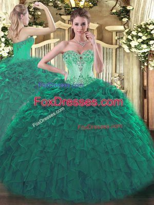 Deluxe Sweetheart Sleeveless Lace Up Quinceanera Gown Turquoise Organza