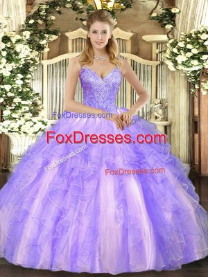 V-neck Sleeveless Tulle Ball Gown Prom Dress Beading and Ruffles Lace Up