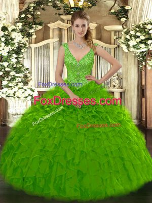 Traditional Floor Length Zipper Sweet 16 Dresses Green for Military Ball and Sweet 16 and Quinceanera with Beading and Ruffles