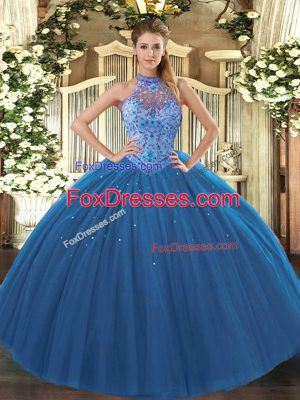 Artistic Navy Blue Tulle Lace Up Halter Top Sleeveless Floor Length Quinceanera Dress Beading and Embroidery