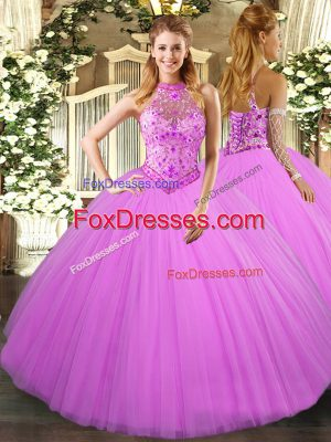 Customized Lilac Lace Up Vestidos de Quinceanera Beading and Embroidery Sleeveless Floor Length