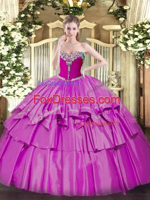 Adorable Floor Length Lilac Quinceanera Dresses Sweetheart Sleeveless Lace Up