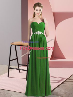 Sumptuous Green Prom Evening Gown Prom and Party with Beading Sweetheart Sleeveless Lace Up