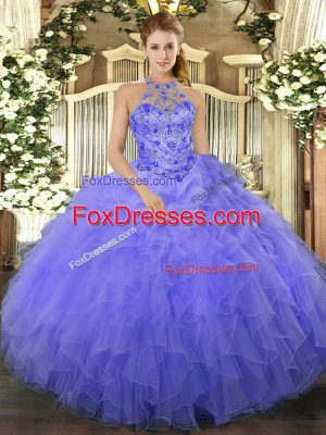 Unique Halter Top Sleeveless Quinceanera Dresses Floor Length Beading and Ruffles Blue Organza