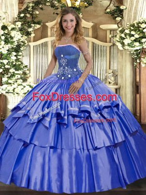 Blue Ball Gowns Beading and Ruffled Layers 15 Quinceanera Dress Lace Up Organza and Taffeta Sleeveless Floor Length