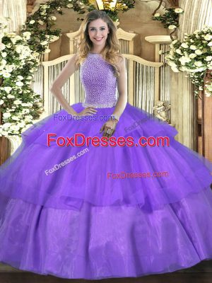 Fashionable High-neck Sleeveless Vestidos de Quinceanera Floor Length Beading and Ruffled Layers Lavender Tulle