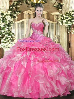 Cute Sleeveless Lace Up Floor Length Beading and Ruffles Quince Ball Gowns
