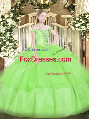 Ball Gowns Beading and Ruffled Layers Quinceanera Gowns Lace Up Organza Sleeveless Floor Length