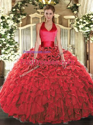 Elegant Organza Sleeveless Floor Length Sweet 16 Quinceanera Dress and Ruffles