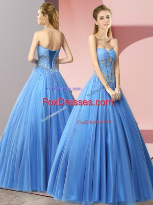 A-line Prom Dresses Baby Blue Sweetheart Tulle Sleeveless Floor Length Lace Up