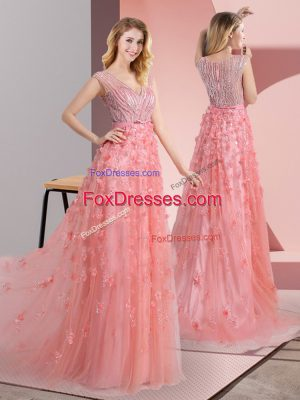 Romantic Sleeveless Tulle Sweep Train Zipper Prom Dress in Pink with Beading and Appliques