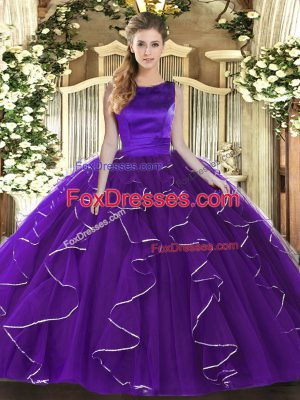 Eye-catching Ruffles Quinceanera Dresses Purple Lace Up Sleeveless Floor Length