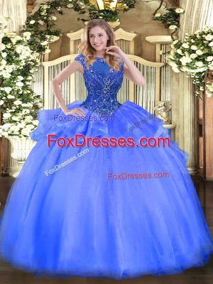 Blue Ball Gown Prom Dress Sweet 16 and Quinceanera with Beading Scoop Cap Sleeves Zipper