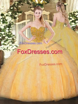 Super Orange Sleeveless Beading and Ruffles Floor Length Sweet 16 Dresses