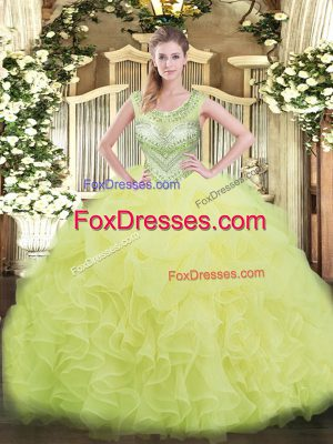 Ball Gowns Quinceanera Dress Yellow Green Scoop Organza Sleeveless Floor Length Lace Up